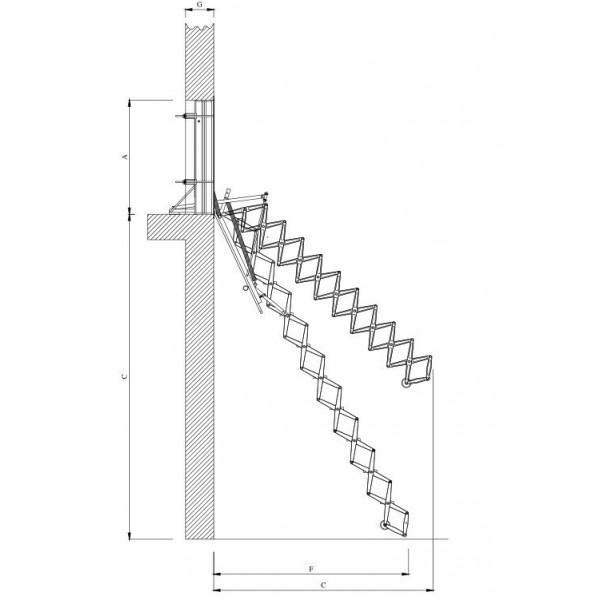 Scala retrattile a pantografo aci alluminio a parete - Scale a parete ...